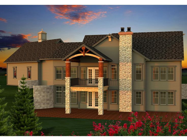 Mountain house plans mountain home plan designed for a for Mountain house plans rear view