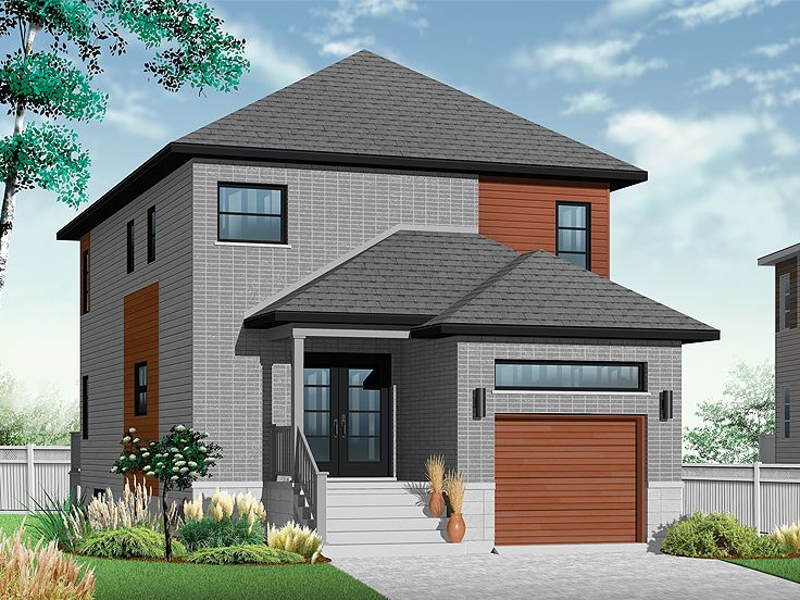 Narrow Lot Home Plans | Modern Narrow Lot House Plan #027H ...