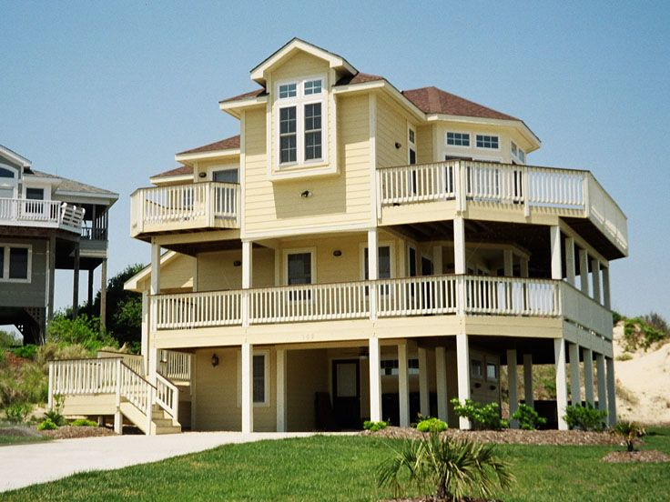 Two story ocean view house plans for Two story beach house plans