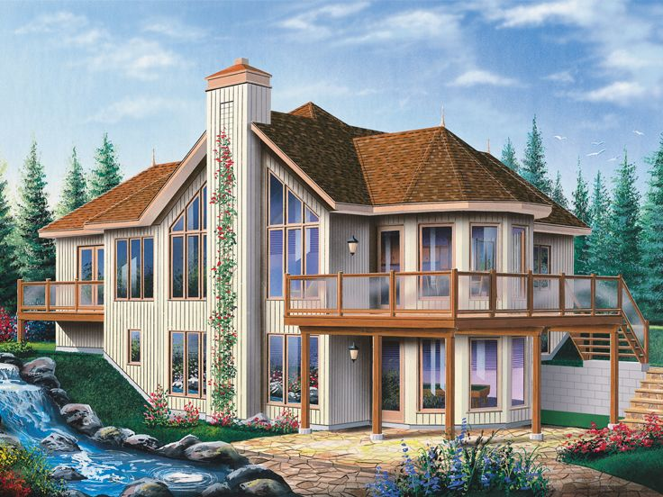 Plan 027h 0291 find unique house plans home plans and Vacation house plans sloped lot