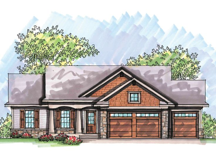 Craftsman style house plans 1 story for Affordable one story house plans