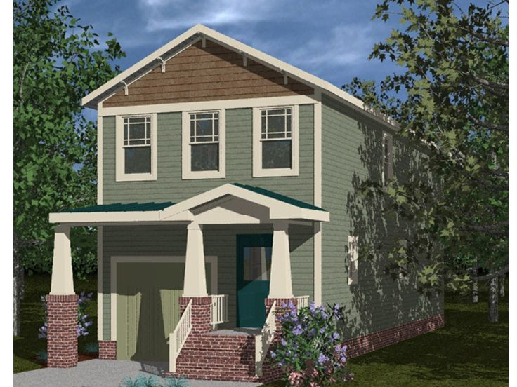 Narrow lot house plans craftsman style narrow lot home for Narrow lot house plans with garage