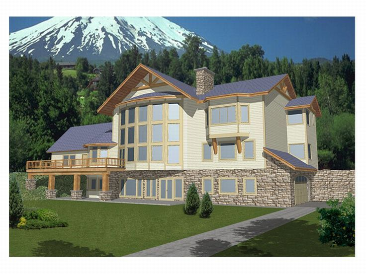 Mountain Home Plan, Rear, 012H-0038