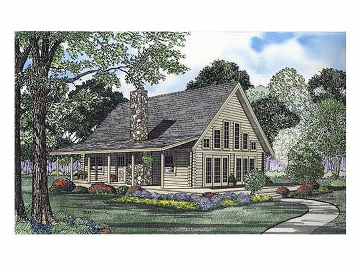 Country Log Home Plan, 025L-0023