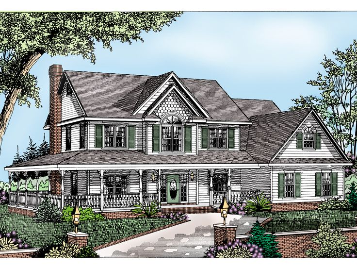 2 story country house 044h 0017 - 2 Story Country House Plans