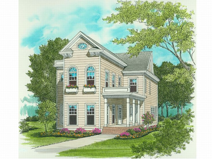 Plan 029h 0079 find unique house plans home plans and floor plans at for Narrow lot house plans