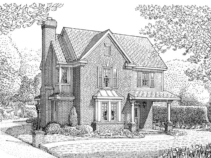 Narrow Low House Plan, 054H-0107