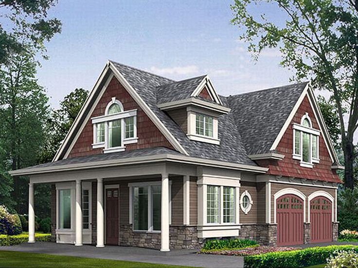Garage apartment plans craftsman style 2 car garage for Two car garage with loft apartment