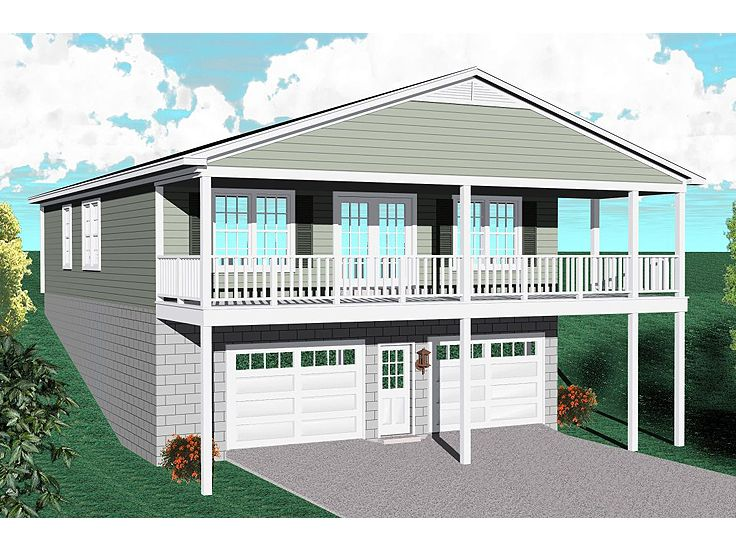 Carriage house plans carriage house plan for a sloping for Deck over garage plans