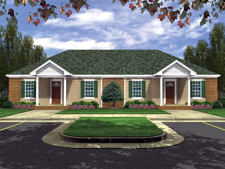 Duplex house plans one story multi family home plan for Single story multi family house plans