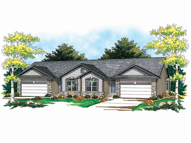 Plan 020m 0021 find unique house plans home plans and for Ranch style duplex plans