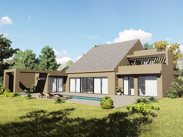 Contemporary House Plan, Left, 012H-0257