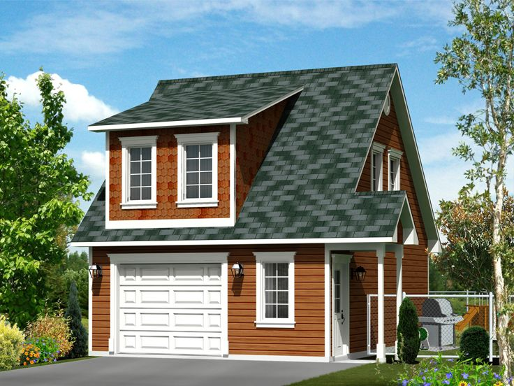 Garage apartment plans 1 car garage apartment plan with for Single car garage with apartment