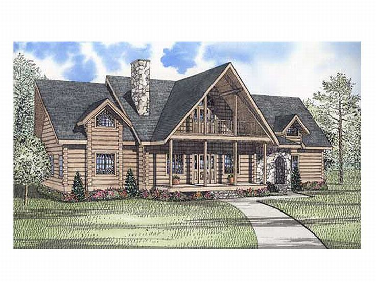 Luxury Log House Plan, 025L-0031