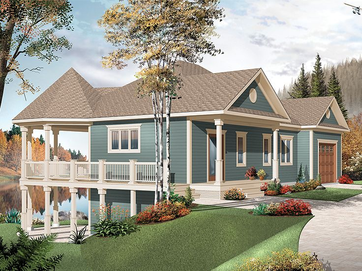Waterfront house plans waterfront house plan with wrap for House plans with decks