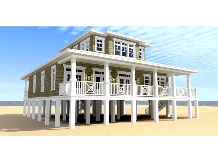 Beach House Plans Two story Coastal home plan 052H