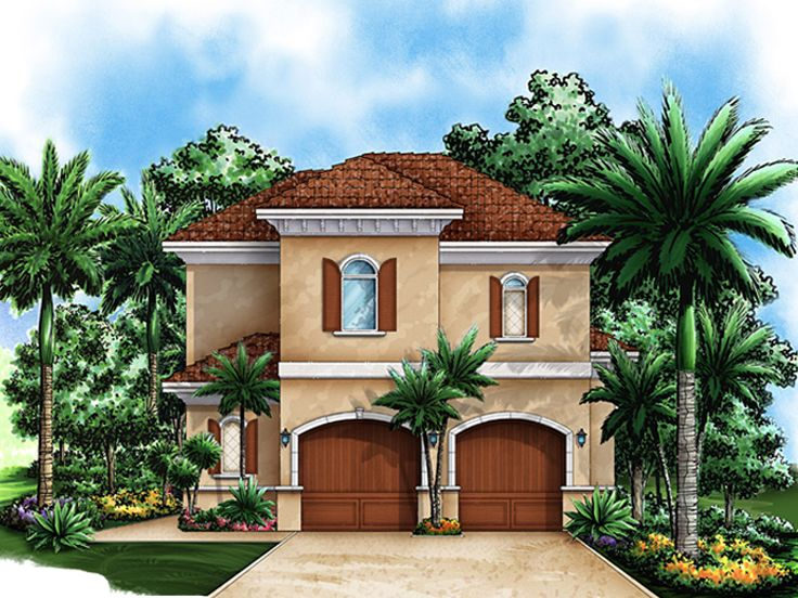 Garage Apartment Plans | Florida-Style 2-Car Garage Apartment Plan ...