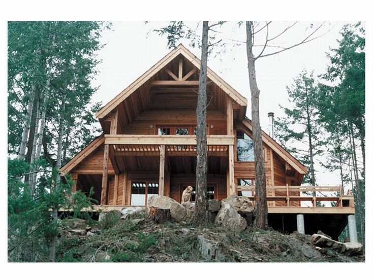 Mountain Home Plan, Rear View, 010H-0009