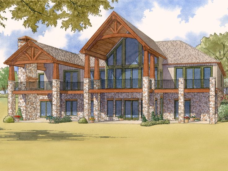 Waterfront House Plan, Rear, 074H-0025