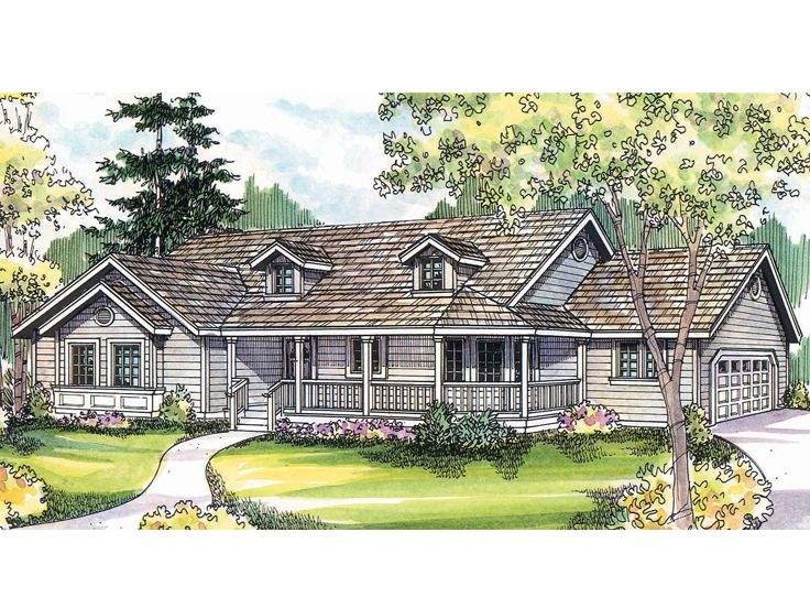 Country home plans country ranch house plan 051h 0202 for Long ranch house plans