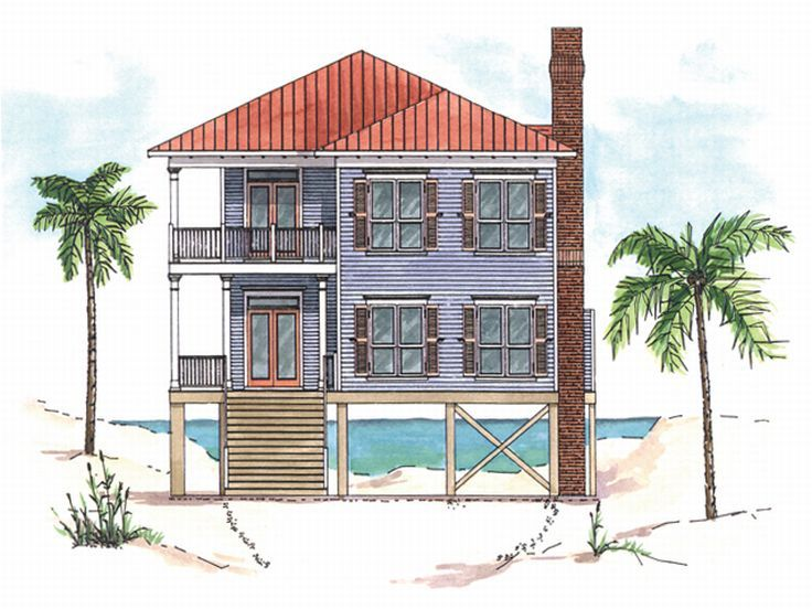 Beach House Plan, 017H-0009
