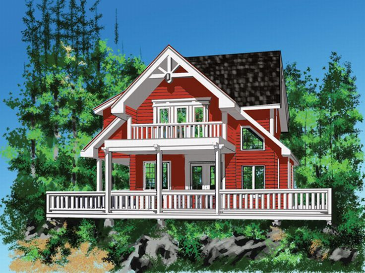 A-Frame Home Plan, Rear, 010H-0013