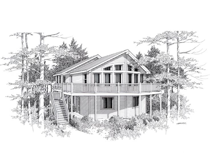 Waterfront House Plan, 018H-0001