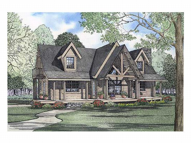 2-Story Log Home Plan, 025L-0038