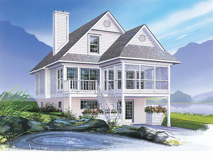 coastal house plan 027h 0140 - Beach House Plans