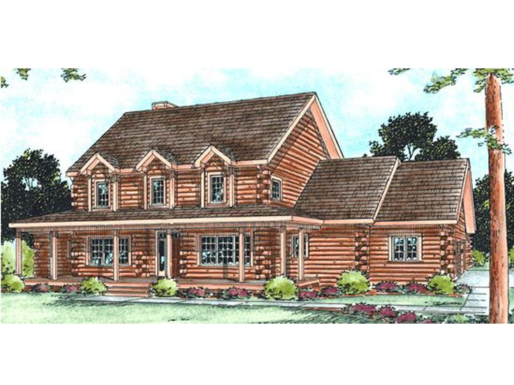 Country Log House Plan, 031L-0015