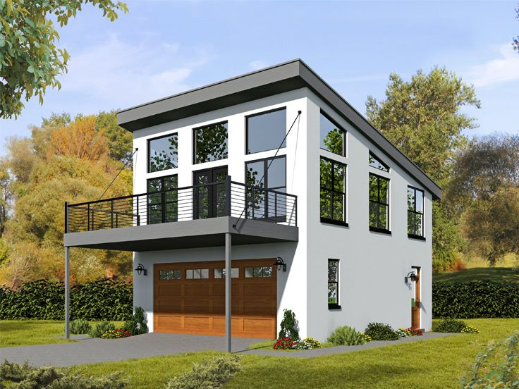 Modern Garage Apartment Plan, 062G-0100