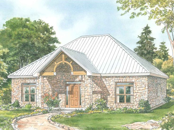 Small House Plans | Affordable Empty-Nester Home Plan with Stone ...