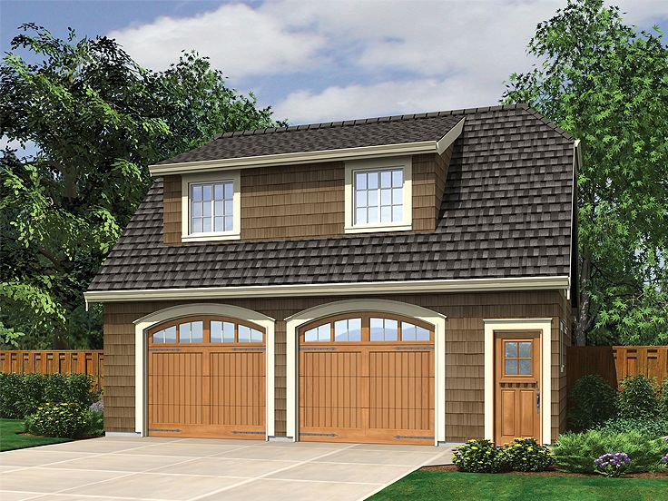 Garage apartment plans craftsman style 2 car garage for Single story garage apartment