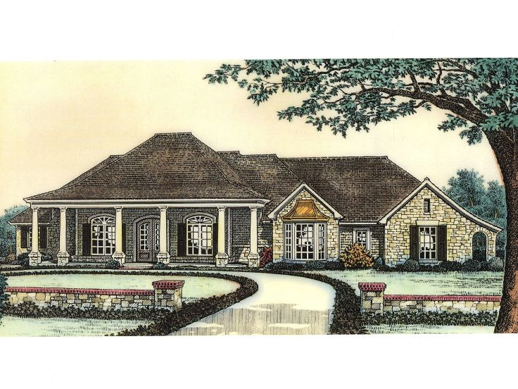 Large one story house plan house design plans for Big one story houses