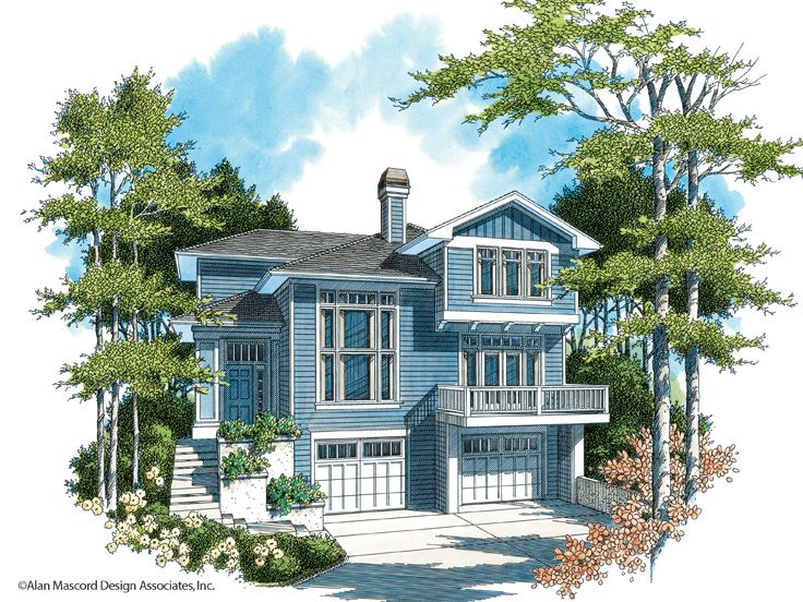 Sloping Lot Home Plan, 034H-0096