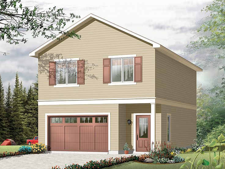 Garage Apartment Plans | Carriage House Plan And Single-Car Garage