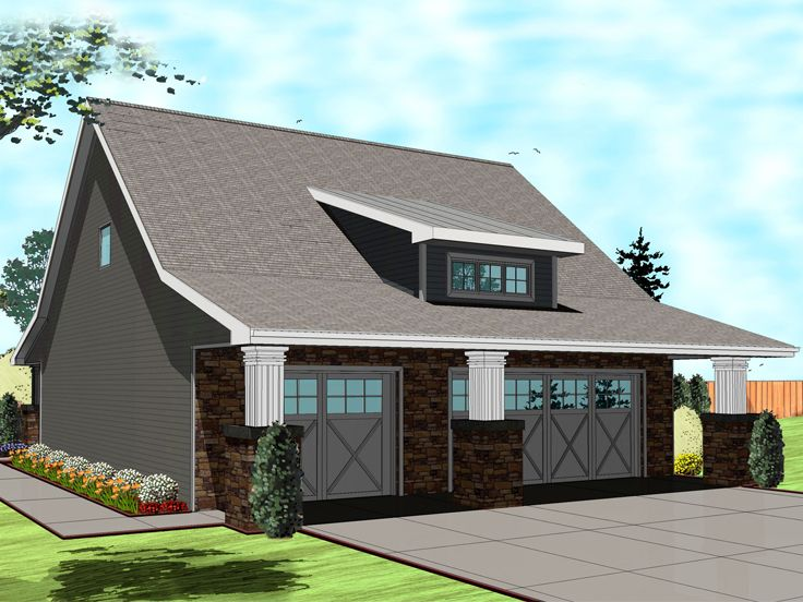 Garage Apartment Plans | Craftsman-Style 3-Car Garage Apartment Plan ...