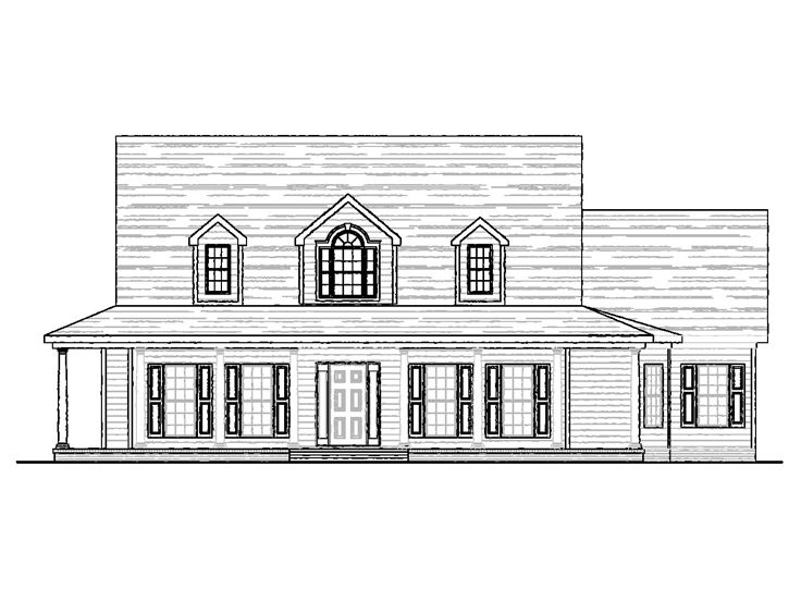 Country Home Plans 2 Story Country House Plan 058h