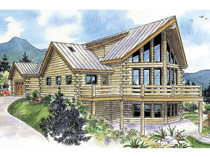 2 Story Log Home Plan 051L 0009