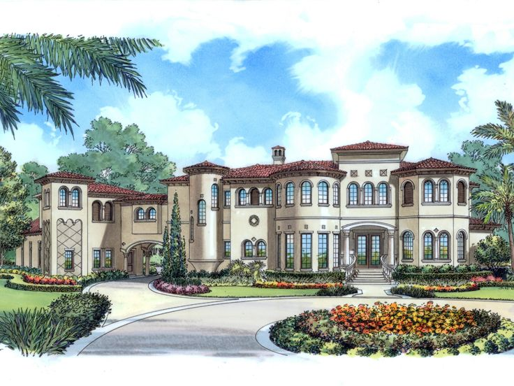 Mediterranean house plans luxurious two story for Two story mediterranean house plans
