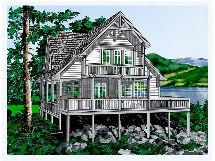Vacation home plans waterfront vacation house plan for Vacation home plans waterfront