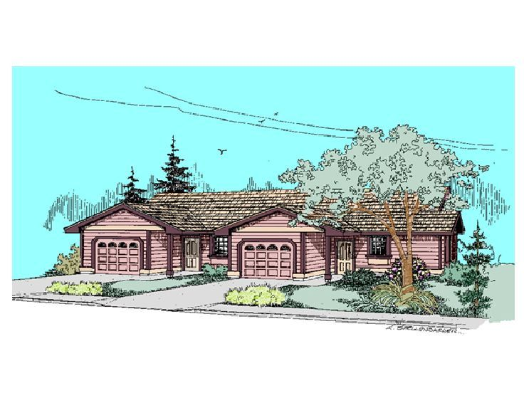 Duplex Home Plan, 013M-0010