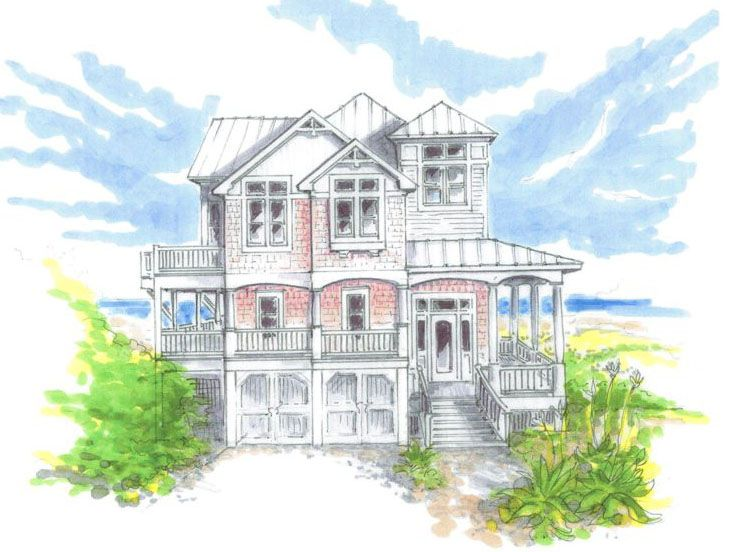 Beach Home Plan, 041H-0012