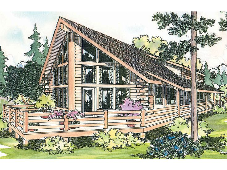 A-Frame Log Home Plan, 051L-0004