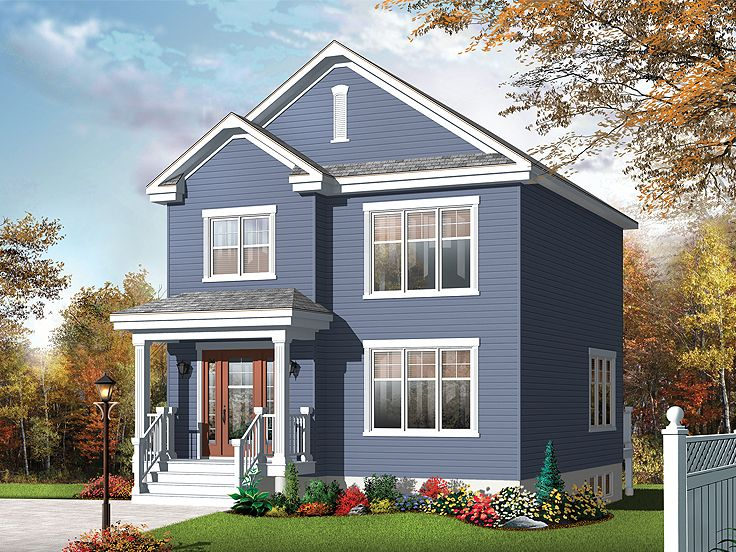 Small home plans small two story house plan fits a for Small starter homes