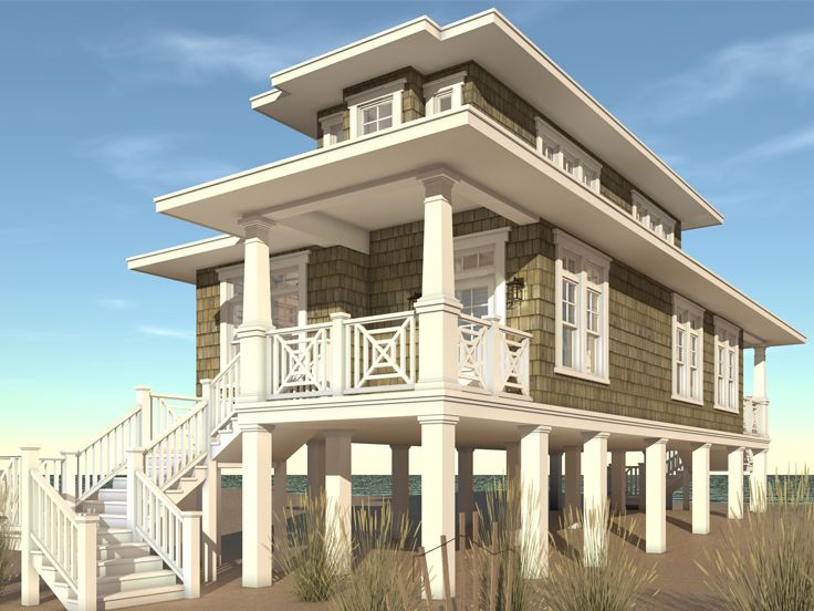 beach house plan 052h 0105 - Beach Home Plans