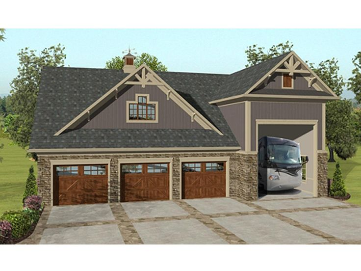 Garage apartment plans garage apartment plan with rv bay Small house plans with 3 car garage