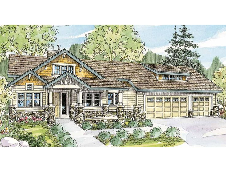 Craftsman Ranch Home, 051H-0163