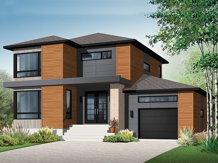 Contemporary house plans modern two story home plan for Small two story house plans with garage