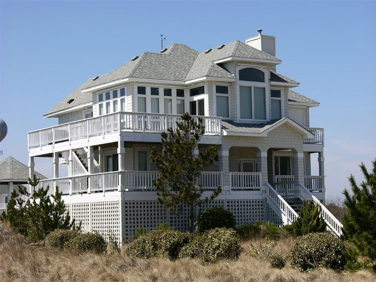 2 story beach house plans ideas house plans 62355 for Beach home plans on pilings